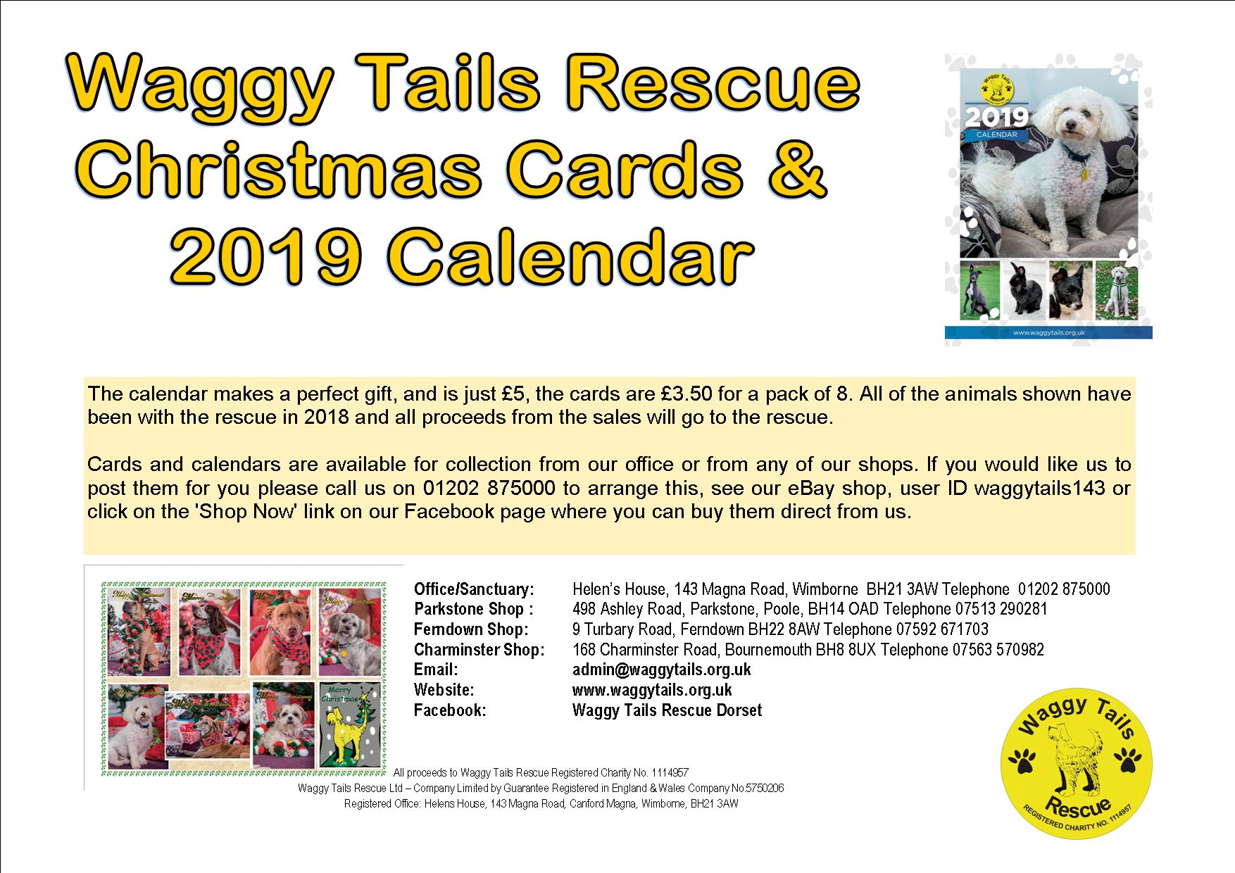 Christmas Cards and Calendar 2019 - Dog Rescue Dorset - Waggy Tails ...